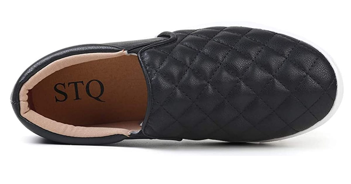 STQ Women's Quilted Slip On Sneakers Walking Shoes